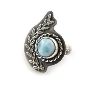 Shop Larimar Rings! Larimar Sterling Silver Ring, Metalwork Statement Ring, Adjustable Ring | Natural genuine Larimar rings, simple unique handcrafted gemstone rings. #rings #jewelry #shopping #gift #handmade #fashion #style #affiliate #ad