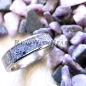 Gift for Christmas! Engraved Sugilite Ring with Stainless Steel, Personalized Wedding / Engagement Ring, Girlfriend gift, Love stone ring | Natural genuine Sugilite rings, simple unique alternative gemstone engagement rings. #rings #jewelry #bridal #wedding #jewelryaccessories #engagementrings #weddingideas #affiliate #ad