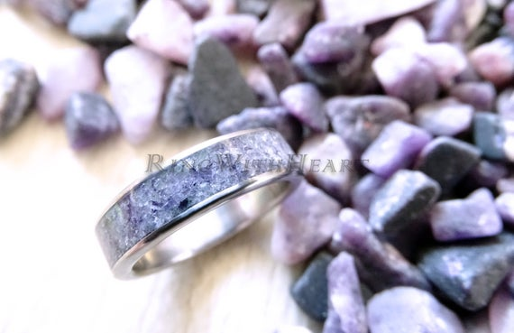 Gift For Christmas! Engraved Sugilite Ring With Stainless Steel, Personalized Wedding / Engagement Ring, Girlfriend Gift, Love Stone Ring