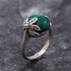 Shop Malachite Rings! Green Flower Ring, Malachite Ring, Natural Malachite, Vintage Rings, Green Malachite, Round Ring, Leaf Ring, Silver Ring, Malachite, Green | Natural genuine Malachite rings, simple unique handcrafted gemstone rings. #rings #jewelry #shopping #gift #handmade #fashion #style #affiliate #ad