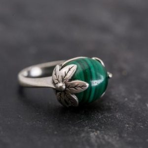 Shop Malachite Rings! Green Leaf Ring, Malachite Ring, Vintage Rings, Natural Malachite, Unique Design, Green Ring, Solid Silver Ring, Real Malachite, Malachite | Natural genuine Malachite rings, simple unique handcrafted gemstone rings. #rings #jewelry #shopping #gift #handmade #fashion #style #affiliate #ad