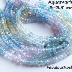 Shop Morganite Faceted Beads! Aquamarine Beads Gemstone Rondelles Faceted Loose Gems 3 Mm Luxe Aaa 1 / 2 Strand Morganite Blue Green Yellow, March Birthstone Solo Ar1 | Natural genuine faceted Morganite beads for beading and jewelry making.  #jewelry #beads #beadedjewelry #diyjewelry #jewelrymaking #beadstore #beading #affiliate #ad