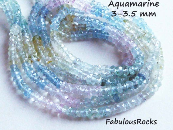 Aquamarine Beads Gemstone Rondelles Faceted Loose Gems 3 Mm Luxe Aaa 1 / 2 Strand Morganite Blue Green Yellow, March Birthstone Solo Ar1