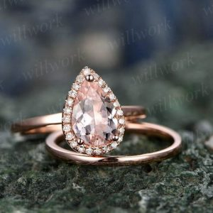 2pcs Tear Droped Morganite engagement ring set-Solid 14k Rose gold ring-Plain matching band- promise ring-anniversary ring for her-pave set | Natural genuine Array rings, simple unique alternative gemstone engagement rings. #rings #jewelry #bridal #wedding #jewelryaccessories #engagementrings #weddingideas #affiliate #ad
