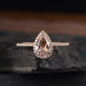 6x9mm Pear Shaped Morganite Engagement Ring Rose Gold Halo Diamond Bridal Wedding Ring Antique Tear Drop Half Eternity Anniversary Women | Natural genuine Array rings, simple unique alternative gemstone engagement rings. #rings #jewelry #bridal #wedding #jewelryaccessories #engagementrings #weddingideas #affiliate #ad