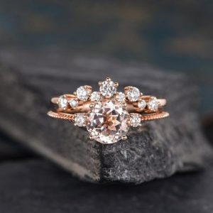 Morganite Engagement Ring Rose Gold 7mm Round Cut Bridal Sets Cluster Diamond Ring Half EternityWomen Curved Beaded Three Stone Anniversary | Natural genuine Array rings, simple unique alternative gemstone engagement rings. #rings #jewelry #bridal #wedding #jewelryaccessories #engagementrings #weddingideas #affiliate #ad