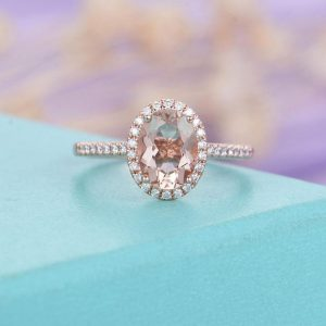 Morganite engagement ring rose gold Vintage Oval cut Halo Diamond Wedding  Antique Art deco Bridal Jewelry Half Eternity Anniversary | Natural genuine Array rings, simple unique alternative gemstone engagement rings. #rings #jewelry #bridal #wedding #jewelryaccessories #engagementrings #weddingideas #affiliate #ad