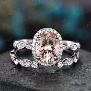 Morganite engagement ring set handmade solid 14k white gold ring under halo open diamond ring band 6×8 oval cut gemstone bridal ring set | Natural genuine Array rings, simple unique alternative gemstone engagement rings. #rings #jewelry #bridal #wedding #jewelryaccessories #engagementrings #weddingideas #affiliate #ad
