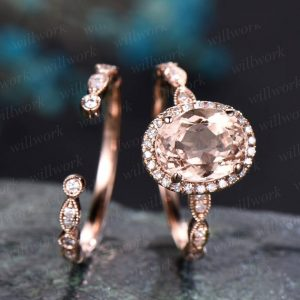 Vintage morganite engagement ring set unique diamond ring set rose gold ring set for women open gap wedding band marquise ring set jewelry | Natural genuine Gemstone rings, simple unique alternative gemstone engagement rings. #rings #jewelry #bridal #wedding #jewelryaccessories #engagementrings #weddingideas #affiliate #ad