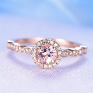 Pink Morganite Engagement Ring Rose Gold 5mm Round Cut Morganite 14k Art Deco Diamond Wedding Band Personalized For Him / her Custom | Natural genuine Gemstone rings, simple unique alternative gemstone engagement rings. #rings #jewelry #bridal #wedding #jewelryaccessories #engagementrings #weddingideas #affiliate #ad