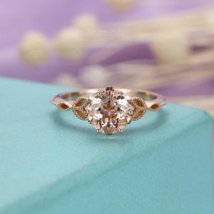 Morganite ring Unique Vintage engagement ring Rose gold Antique Art deco diamond wedding Flower Bridal Jewelry Promise Gift for | Natural genuine Array rings, simple unique alternative gemstone engagement rings. #rings #jewelry #bridal #wedding #jewelryaccessories #engagementrings #weddingideas #affiliate #ad