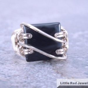Shop Onyx Rings! 14k Gold Filled Square Black Onyx Wire Wrapped Ring | Natural genuine Onyx rings, simple unique handcrafted gemstone rings. #rings #jewelry #shopping #gift #handmade #fashion #style #affiliate #ad