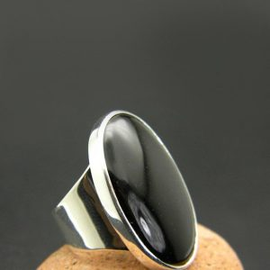 Shop Healing Gemstone Rings! Large Black Onyx Ring, Sterling Silver, Huge Oval Black Stone, Statement Ring, Cocktail Ring, Boho Black Jewelry, Black Stone Ring, | Natural genuine Gemstone rings, simple unique handcrafted gemstone rings. #rings #jewelry #shopping #gift #handmade #fashion #style #affiliate #ad
