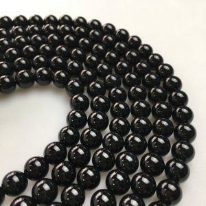 "Shop Onyx Beads! 2.0mm Hole Black Onyx Smooth Round Size 6mm 8mm 10mm 12mm 15.5"" Strand 