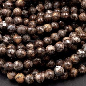 "Shop Opal Beads! Natural African Lace Opal Round Beads 6mm 8mm 10mm Earthy Brown Gemstone Opal Beads 15.5"" Strand 