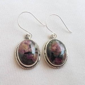 Shop Sugilite Earrings! Oval shaped Sugilite cabochon studded in sterling silver, 20×15mm approx size, silver earwire, natural and beautiful, gift jewelry | Natural genuine Sugilite earrings. Buy crystal jewelry, handmade handcrafted artisan jewelry for women.  Unique handmade gift ideas. #jewelry #beadedearrings #beadedjewelry #gift #shopping #handmadejewelry #fashion #style #product #earrings #affiliate #ad