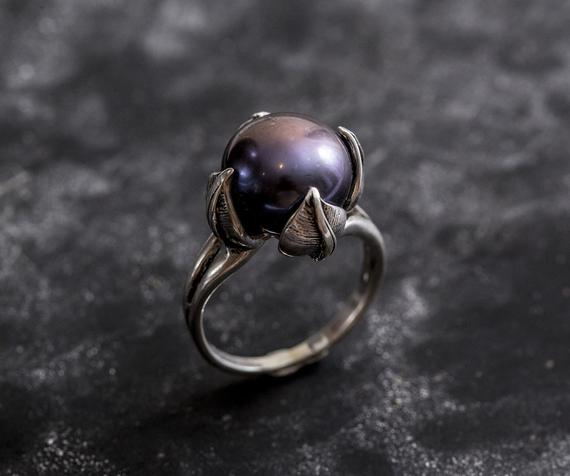 Black Pearl Ring, Genuine Pearl, Pearl Promise Ring, Vintage Rings, Pearl Ring, Vintage Pearl Ring, June Birthstone, Solid Silver Ring