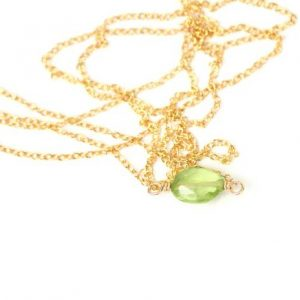 Peridot Necklace – Green Peridot – August Birthstone – Healing Crystal – Crystal Necklace – A Tiny Peridot Gem On A 14k Gold Vermeil Chain | Natural genuine Peridot necklaces. Buy crystal jewelry, handmade handcrafted artisan jewelry for women.  Unique handmade gift ideas. #jewelry #beadednecklaces #beadedjewelry #gift #shopping #handmadejewelry #fashion #style #product #necklaces #affiliate #ad