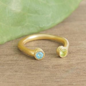 Gold Ring, Birthday Gift, Peridot Ring, Gemstone Ring, Organic Ring, Textured Ring, Gift For Wife, Jewelry Gift, Gift For Her, Stacking Ring | Natural genuine Gemstone rings, simple unique handcrafted gemstone rings. #rings #jewelry #shopping #gift #handmade #fashion #style #affiliate #ad