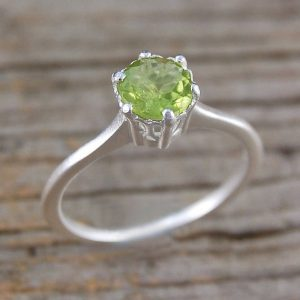 Silver Peridot Ring-gemstone Ring-green Gemstone-solitaire Ring-sterling Silver Ring-peridot-peridot Ring-birthstone Jewelry-green Peridot | Natural genuine Gemstone rings, simple unique handcrafted gemstone rings. #rings #jewelry #shopping #gift #handmade #fashion #style #affiliate #ad