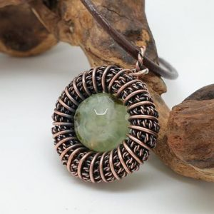 Shop Prehnite Pendants! Prehnite Circle Pendant, Wire Wrapped Jewellery, Fidget Necklace | Natural genuine Prehnite pendants. Buy crystal jewelry, handmade handcrafted artisan jewelry for women.  Unique handmade gift ideas. #jewelry #beadedpendants #beadedjewelry #gift #shopping #handmadejewelry #fashion #style #product #pendants #affiliate #ad