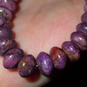 Shop Sugilite Jewelry! Purple Sugilite Beaded Rondell Necklace 18.5 inches | Natural genuine Sugilite jewelry. Buy crystal jewelry, handmade handcrafted artisan jewelry for women.  Unique handmade gift ideas. #jewelry #beadedjewelry #beadedjewelry #gift #shopping #handmadejewelry #fashion #style #product #jewelry #affiliate #ad