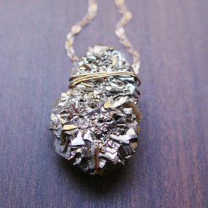 Pyrite Crystal Gold Necklace | Natural genuine Pyrite jewelry. Buy crystal jewelry, handmade handcrafted artisan jewelry for women.  Unique handmade gift ideas. #jewelry #beadedjewelry #beadedjewelry #gift #shopping #handmadejewelry #fashion #style #product #jewelry #affiliate #ad