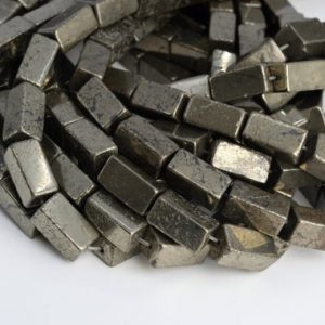 "Shop Pyrite Bead Shapes! 16x8MM Copper Pyrite Beads Square Tube Grade AAA Genuine Natural Gemstone Half Strand Loose Beads 7.5"" BULK LOT 1,3,5,10,50 (104650h-1267) 