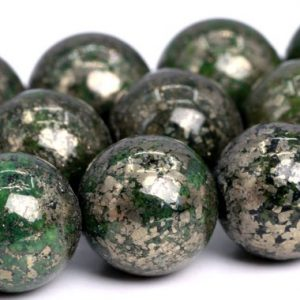 "Shop Pyrite Beads! 10MM Green Pyrite Beads Grade AAA Natural Gemstone  Round Loose Beads 15.5"" / 7.5"" Bulk Lot Options (102301) 