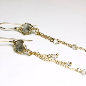 Shop Herkimer Diamond Earrings! Herkimer Diamond Gold Filled Earrings natural crystal clear gemstone artisan long chain cluster dangle drops April birthstone gift her 5429 | Natural genuine Herkimer Diamond earrings. Buy crystal jewelry, handmade handcrafted artisan jewelry for women.  Unique handmade gift ideas. #jewelry #beadedearrings #beadedjewelry #gift #shopping #handmadejewelry #fashion #style #product #earrings #affiliate #ad