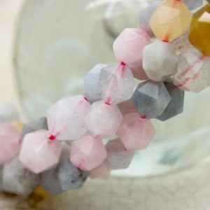 Shop Quartz Crystal Faceted Beads! Mix Quartz Faceted Round Sphere Natural Gemstone Loose Beads | Natural genuine faceted Quartz beads for beading and jewelry making.  #jewelry #beads #beadedjewelry #diyjewelry #jewelrymaking #beadstore #beading #affiliate #ad