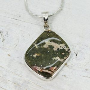 Shop Rainforest Jasper Pendants! Gorgeous Rhyolite Rainforest Jasper Stone Pendant Set On Sterling Silver 925 Natural Jasper Shape Jewelry Sterling Silver Mount | Natural genuine Rainforest Jasper pendants. Buy crystal jewelry, handmade handcrafted artisan jewelry for women.  Unique handmade gift ideas. #jewelry #beadedpendants #beadedjewelry #gift #shopping #handmadejewelry #fashion #style #product #pendants #affiliate #ad