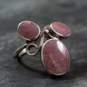 Shop Rhodochrosite Rings! Rhodochrosite Ring, Natural Rhodochrosite, Vintage Ring, February Birthstone, Statement Ring, February Ring, Silver Ring, Rhodochrosite | Natural genuine Rhodochrosite rings, simple unique handcrafted gemstone rings. #rings #jewelry #shopping #gift #handmade #fashion #style #affiliate #ad