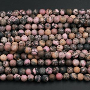"Matte Natural Pink Rhodonite Beads 4mm 6mm 8mm 10mm Matte Round Beads High Quality Earthy Pink Interesting Black Matrix Beads 15.5"" Strand 