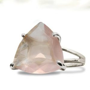 Shop Rose Quartz Rings! Unique Rose Quartz Ring, trillion Ring, gemstone Ring, pink Love Ring, pink Quartz Silver Ring, statement Ring, double Band Ring | Natural genuine Rose Quartz rings, simple unique handcrafted gemstone rings. #rings #jewelry #shopping #gift #handmade #fashion #style #affiliate #ad
