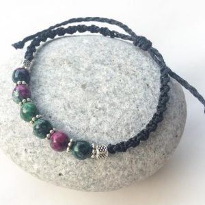 Shop Ruby Zoisite Bracelets! Ruby Zoisite bracelet, Macrame & natural gemstones bracelet, Watermelon Ruby ethnic bracelet, Adjustable ruby bracelet, Boho macrame jewelry | Natural genuine Ruby Zoisite bracelets. Buy crystal jewelry, handmade handcrafted artisan jewelry for women.  Unique handmade gift ideas. #jewelry #beadedbracelets #beadedjewelry #gift #shopping #handmadejewelry #fashion #style #product #bracelets #affiliate #ad