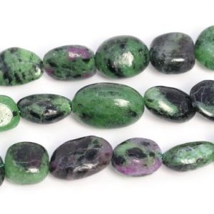 "Shop Ruby Chip & Nugget Beads! 8-10mm Green And Black Ruby Zoisite Beads Pebble Nugget Grade Aa Genuine Natural Gemstone Loose Beads 15.5"" / 7.5"" Bulk Lot Options (108543) 