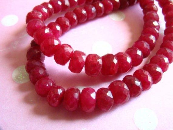 1/2 Strand, Ruby Rondelles, Luxe Aaa, 3-4, 4-5 Or 5-6 Mm, Faceted, July Birthstone Brides Bridal Tr R 34 45 56 True