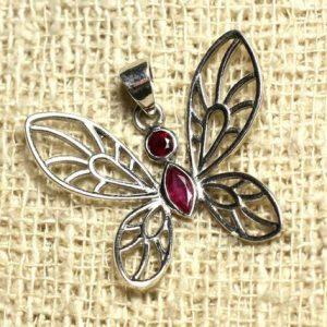 Shop Ruby Pendants! Stone – Ruby and 28mm 925 sterling silver Butterfly pendant | Natural genuine Ruby pendants. Buy crystal jewelry, handmade handcrafted artisan jewelry for women.  Unique handmade gift ideas. #jewelry #beadedpendants #beadedjewelry #gift #shopping #handmadejewelry #fashion #style #product #pendants #affiliate #ad