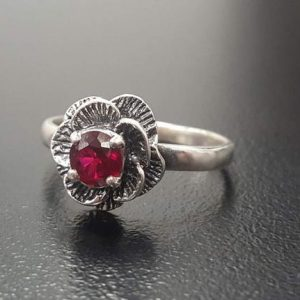 Shop Ruby Rings! Ruby Ring, Created Ruby Ring, Red Ruby Ring, Silver Flower Ring, Red Vintage Ring, Solitaire Ring, Red Rose Ring, 925 Silver Ring, Red Ring | Natural genuine Ruby rings, simple unique handcrafted gemstone rings. #rings #jewelry #shopping #gift #handmade #fashion #style #affiliate #ad