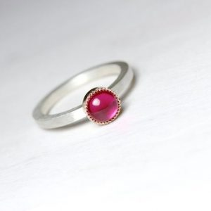 Lab Created Ruby Engagement Ring Silver 14k Rose Gold Bezel Cherry Pink Conflict Free Gemstone Modern Simplistic Vibrant Design – Maraschino | Natural genuine Gemstone rings, simple unique alternative gemstone engagement rings. #rings #jewelry #bridal #wedding #jewelryaccessories #engagementrings #weddingideas #affiliate #ad