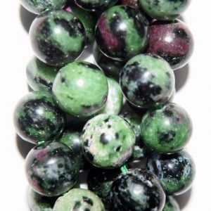"Shop Ruby Zoisite Round Beads! Genuine Ruby Zoisite beads – Round 10 mm Gemstone Beads – Full Strand 16"", 41 beads, A+Quality 