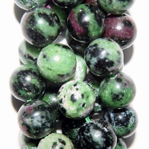 "Genuine Ruby Zoisite Beads - Round 10 Mm Gemstone Beads - Full Strand 16"", 41 Beads, A+quality"
