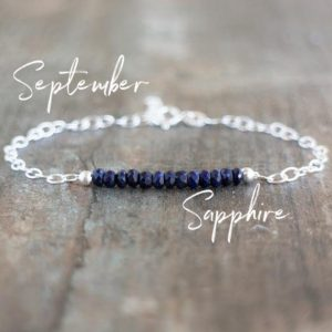 Shop Sapphire Bracelets! Blue Sapphire Bracelet, September Birthstone Jewelry Gift | Natural genuine Sapphire bracelets. Buy crystal jewelry, handmade handcrafted artisan jewelry for women.  Unique handmade gift ideas. #jewelry #beadedbracelets #beadedjewelry #gift #shopping #handmadejewelry #fashion #style #product #bracelets #affiliate #ad