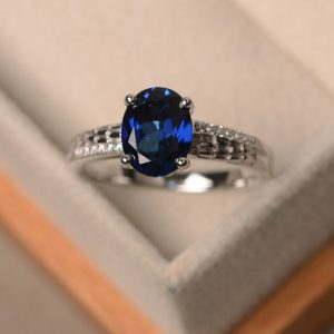 Lab sapphire ring, blue sapphire, oval cut sapphire, engagement ring | Natural genuine Array rings, simple unique alternative gemstone engagement rings. #rings #jewelry #bridal #wedding #jewelryaccessories #engagementrings #weddingideas #affiliate #ad