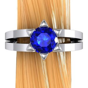 Star of David Ring, Blue Sapphire in 14k White Gold | Natural genuine Array rings, simple unique handcrafted gemstone rings. #rings #jewelry #shopping #gift #handmade #fashion #style #affiliate #ad