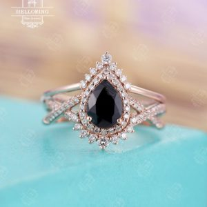 Shop Sapphire Rings! Vintage Black Sapphire Engagement Ring Set, Pear Shaped, diamond / moissanite Curved Wedding Band Women, Rose Gold Bridal Set, Anniversary Gift | Natural genuine Sapphire rings, simple unique alternative gemstone engagement rings. #rings #jewelry #bridal #wedding #jewelryaccessories #engagementrings #weddingideas #affiliate #ad