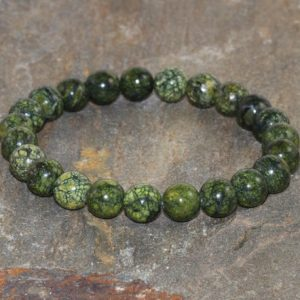Shop Serpentine Bracelets! 8 Mm Russian Serpentine Bracelet Green Bead Bracelet Healing Stone Bracelet Mens Bracelet Women Bracelet Gemstone Jewelry Yoga Bracelet Gift | Natural genuine Serpentine bracelets. Buy handcrafted artisan men's jewelry, gifts for men.  Unique handmade mens fashion accessories. #jewelry #beadedbracelets #beadedjewelry #shopping #gift #handmadejewelry #bracelets #affiliate #ad