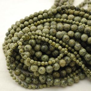 "Shop Serpentine Round Beads! High Quality Grade A Natural Yellow Green Serpentine Semi-precious Gemstone Round Beads – 4mm, 6mm, 8mm Sizes – 16"" Strand 