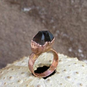 Shop Smoky Quartz Rings! Smoky Quartz Ring | Black Quartz Electroformed Ring | Smoky Quartz Copper Ring | Double Terminated Quartz Ring | Natural genuine Smoky Quartz rings, simple unique handcrafted gemstone rings. #rings #jewelry #shopping #gift #handmade #fashion #style #affiliate #ad